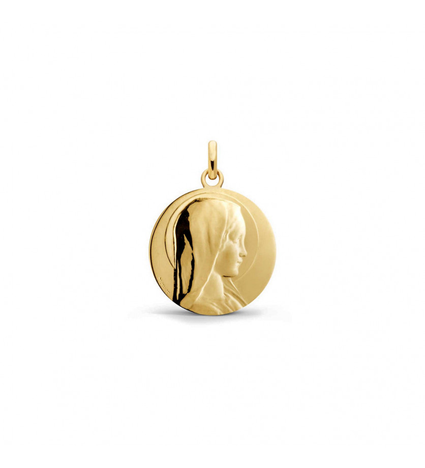 Médaille Vierge Jeune or jaune 18mm polie
