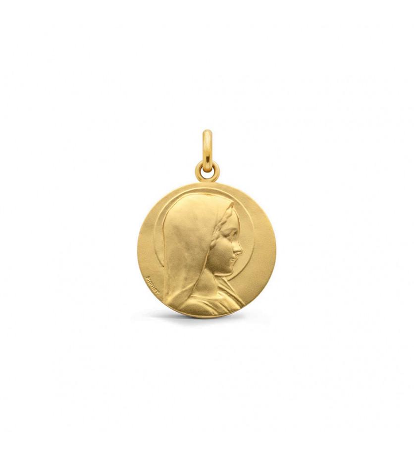 Médaille Vierge Jeune sablée 18mm mince