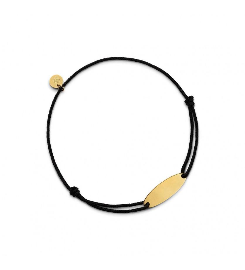 Bracelet plaque Calisson 20 mm or jaune sur cordon noir