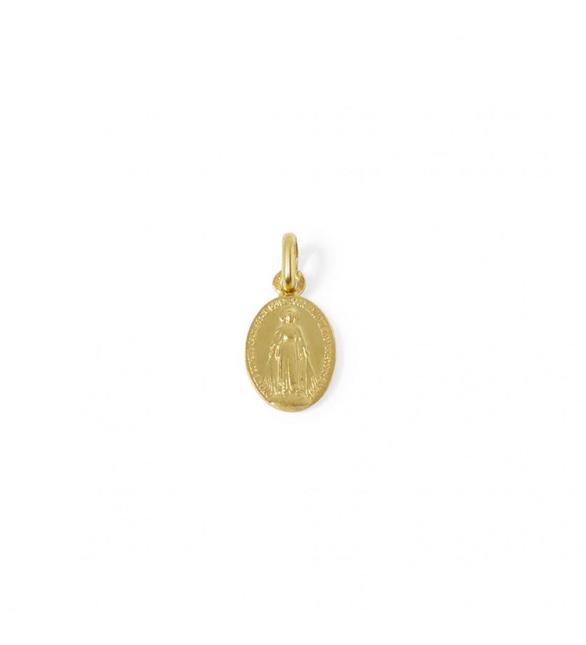 Médaille Vierge Miraculeuse or jaune sablé 12mm