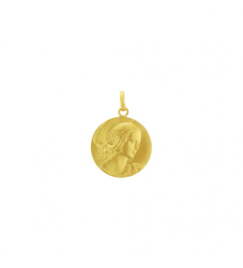 Médaille Vierge de Raphaël 21mm or jaune sablé