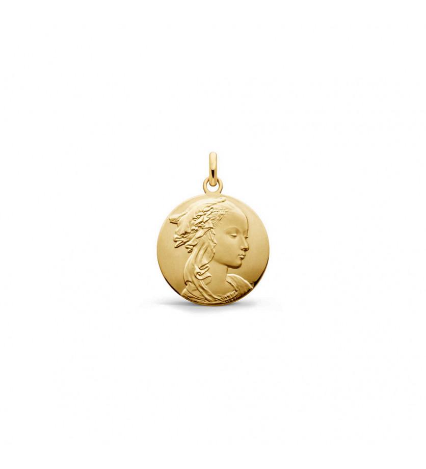 Médaille Vierge Adorazione or jaune 16mm mince