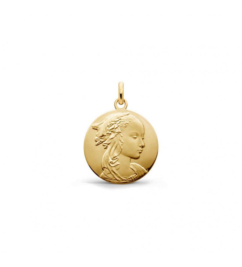 Médaille Vierge Adorazione 18mm or jaune poli/sablé