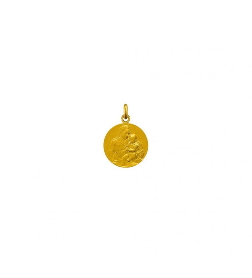 Médaille Vierge et l'Enfant or jaune 18mm