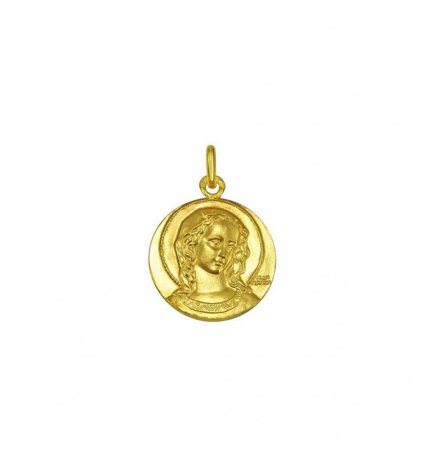 Médaille Virgo Amabilis 23mm or jaune sablé