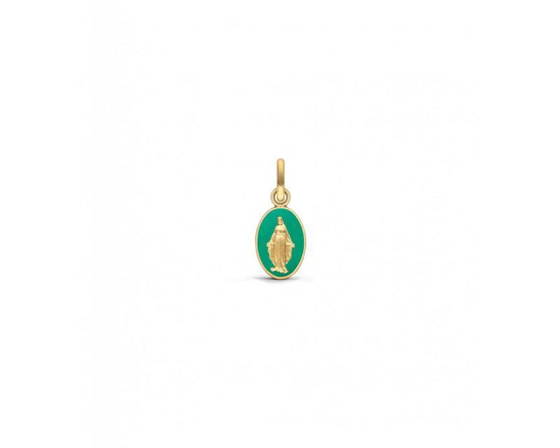 Médaille Vierge Miraculeuse laque émeraude or jaune, hauteur 10 mm