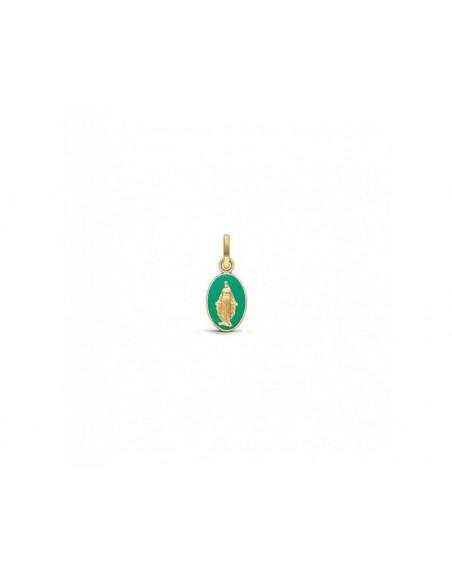 Médaille Vierge Miraculeuse laque émeraude or jaune hauteur 10mm