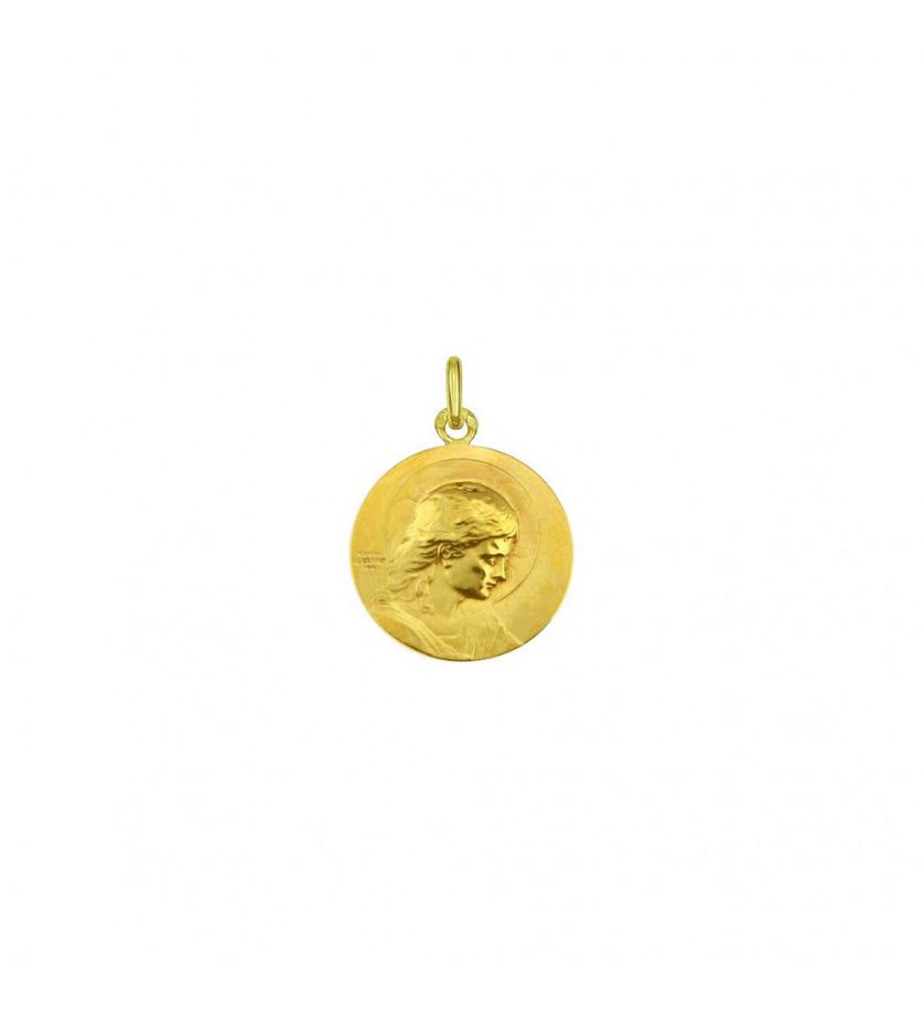 Médaille Jésus Adolescent 18mm or jaune sablé, frappe mince