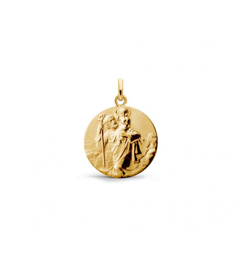 Médaille Saint Christophe de Tairac 18mm or jaune sablé, mince
