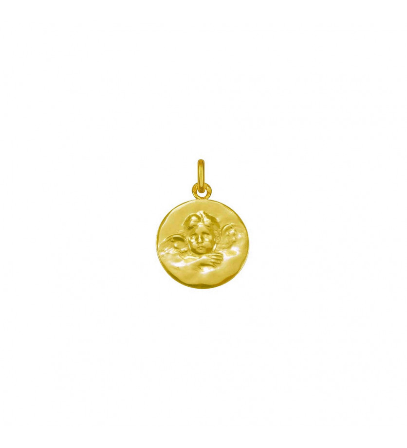 Médaille Ange de Robida 16mm or jaune mince