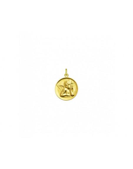 Médaille Ange de Raphaël or jaune 18mm mince polie