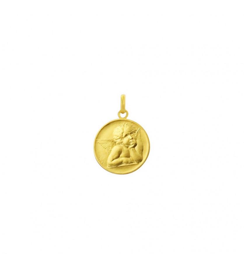 ARTHUS BERTRAND Médaille Ange de Raphaël or jaune sablé 18mm mince