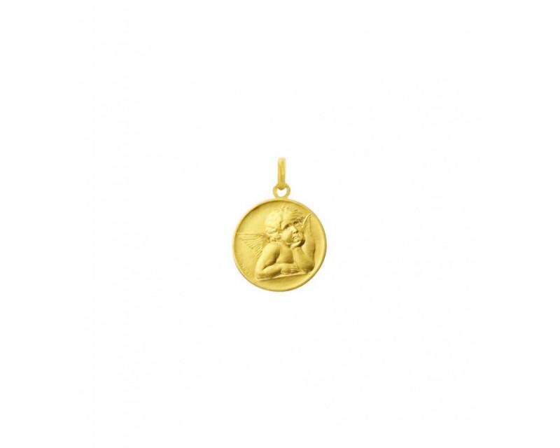 Médaille Ange de Raphaël or jaune sablé 18mm mince