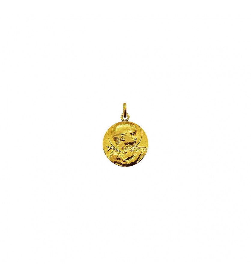 Médaille Saint Jean Baptiste de Guzmann or jaune poli 18mm