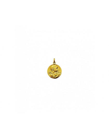 Médaille Saint Jean Baptiste de Guzmann or jaune sablé mince 18mm