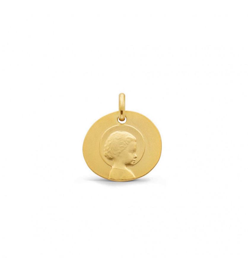 Galet Jésus Enfant 16mm or jaune sablé