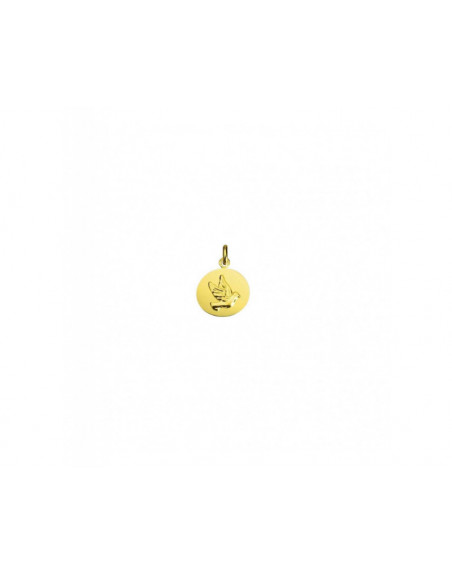 Médaille galet Colombe 16mm or jaune polie