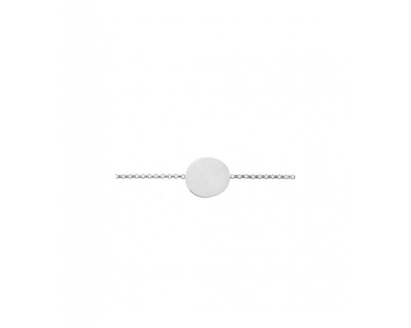 Bracelet Identité bébé galet uni PM jaseron or gris