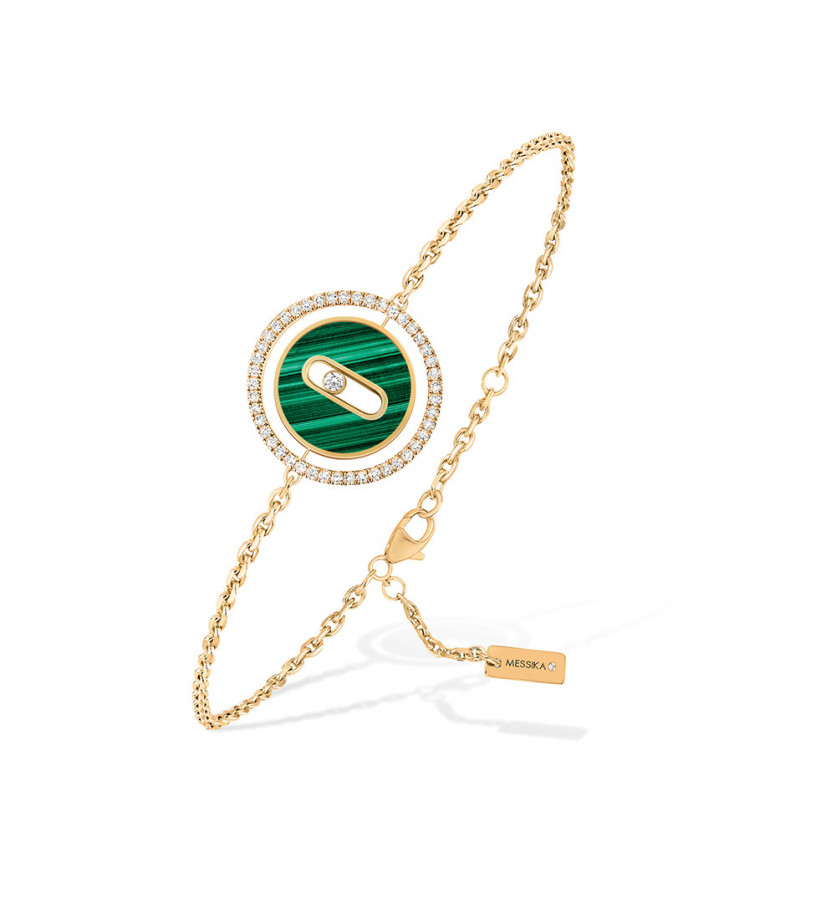 Bracelet Lucky Move PM or jaune malachite diamants