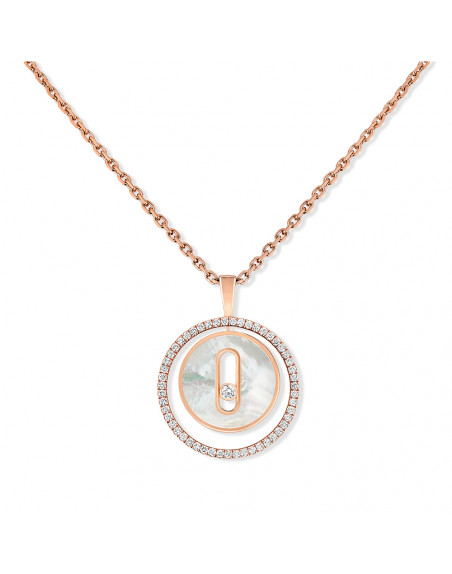 Collier Lucky Move PM or rose nacre blanche diamants