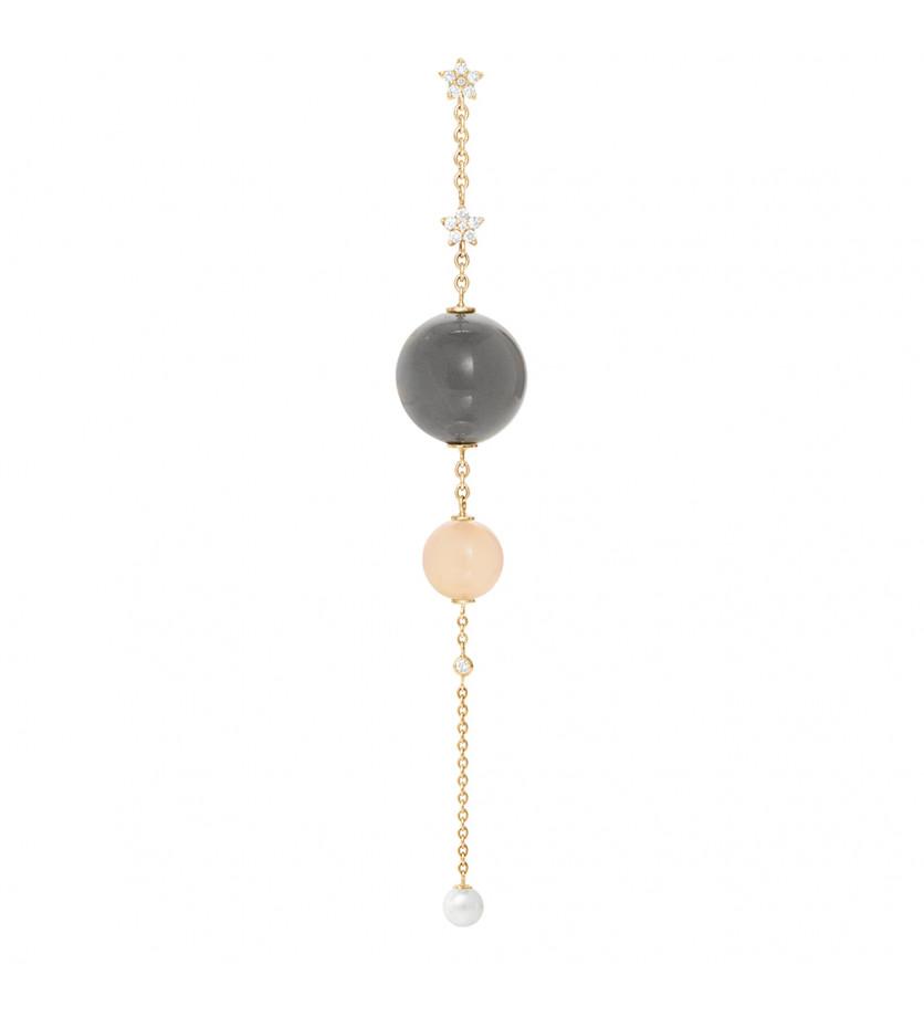 Charm pour boucles d'oreille Shooting Stars Pierre de Lune grise perle blanche diamants