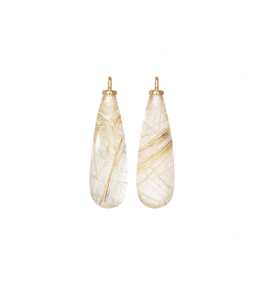 Charm pour boucles d'oreille Lotus quartz rutile
