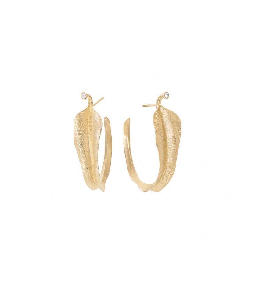 Boucles d'oreille Leaves PM or jaune diamants