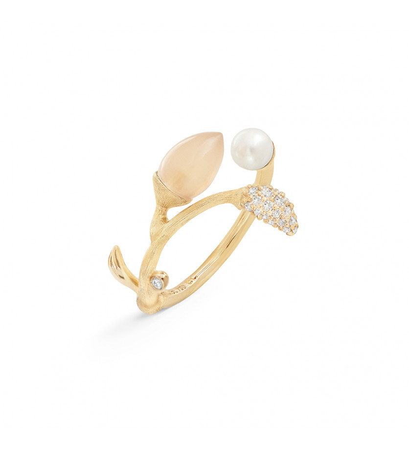 Bague Blooming Pierre de Lune blush perle blanche
