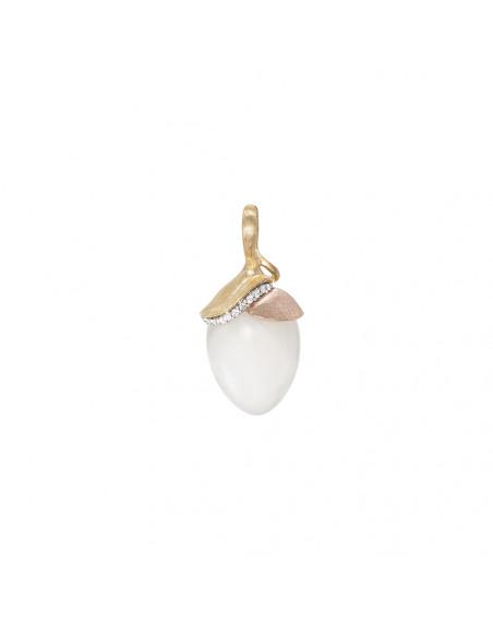 Pendentif Lotus GM Pierre de Lune blanche diamants