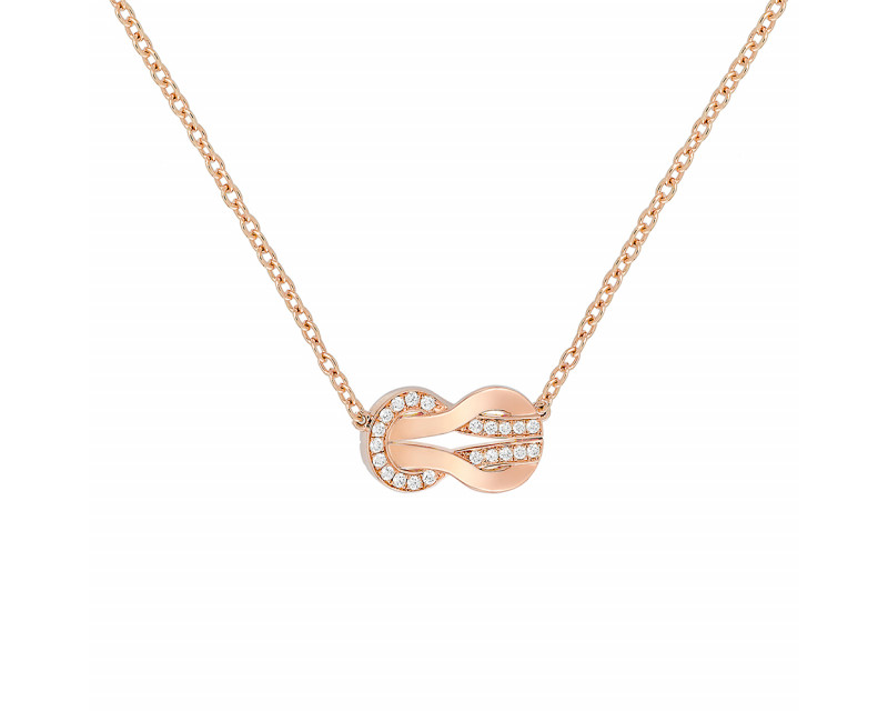 Collier Chance Infinie moyen modèle or rose semi pavé diamants sur chaîne forçat rond ajustable