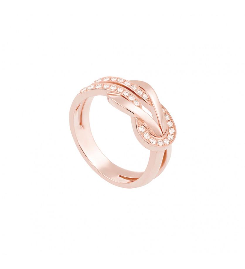 Bague Chance Infinie MM or rose semi pavé diamants