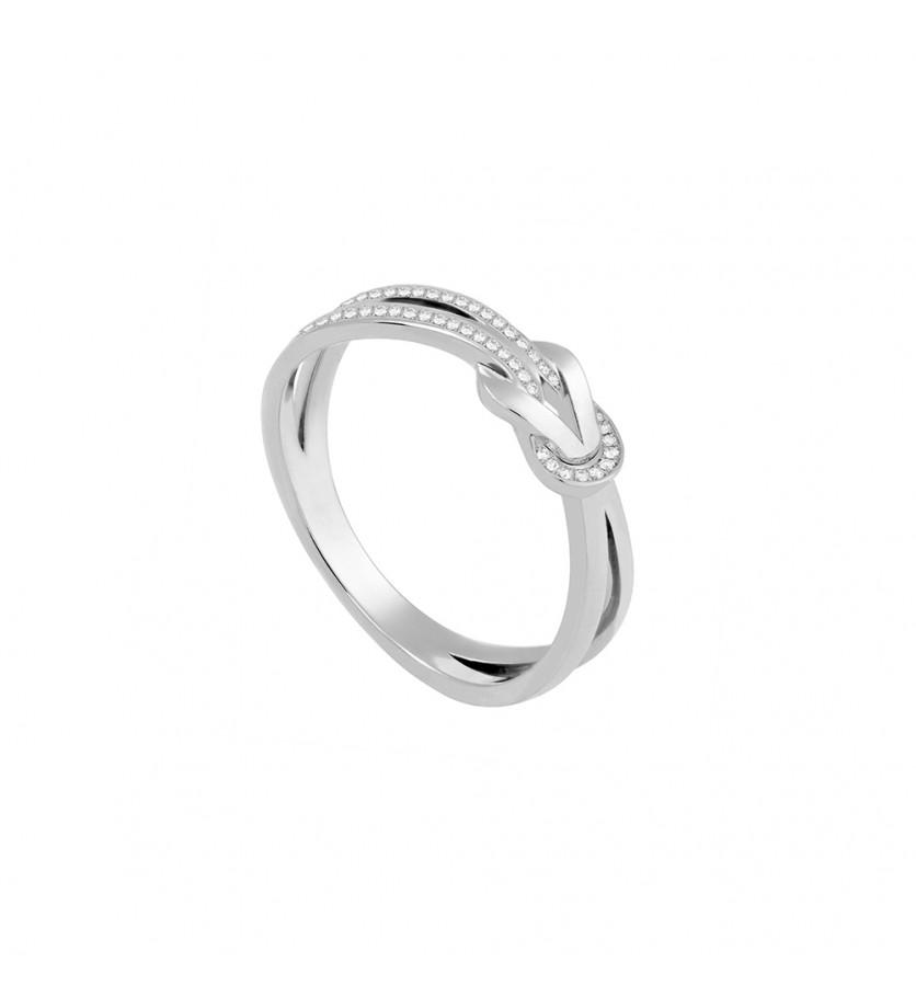 Bague Chance Infinie PM or gris semi pavé diamants