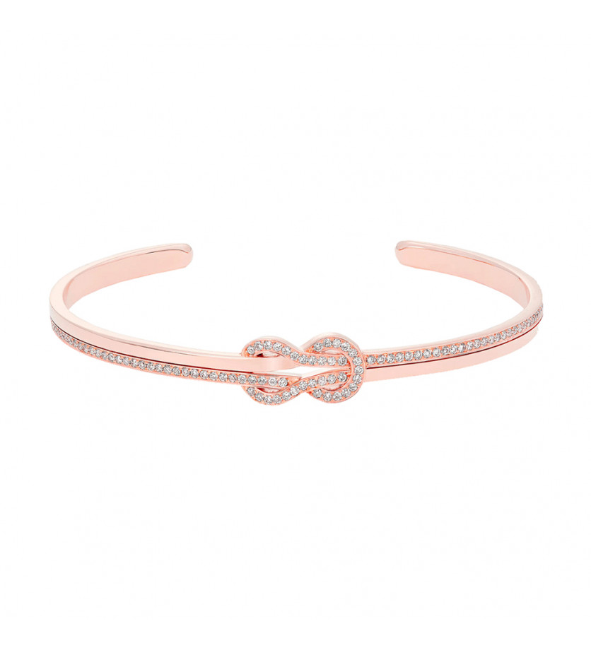 Bracelet Jonc Chance Infinie or rose semi pavé diamants