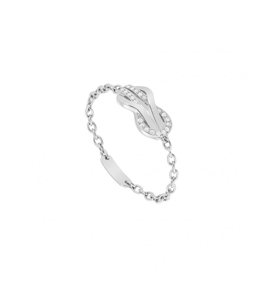 Bague chaîne Chance Infinie or gris semi pavé diamants