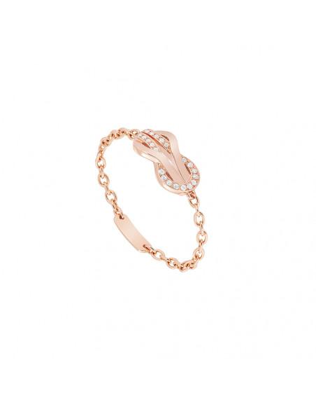 Bague chaîne Chance Infinie or rose semi pavé diamants