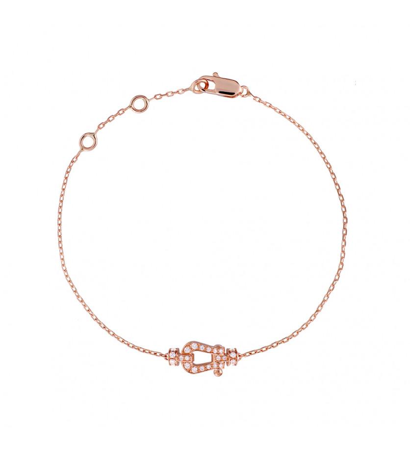 Bracelet chaîne Force 10 PM or rose manille full pavée diamants