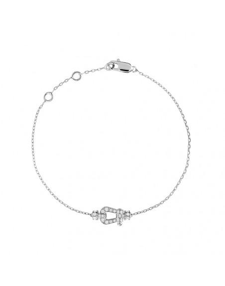 Bracelet chaine Force 10 PM or blanc manille pavée de diamants