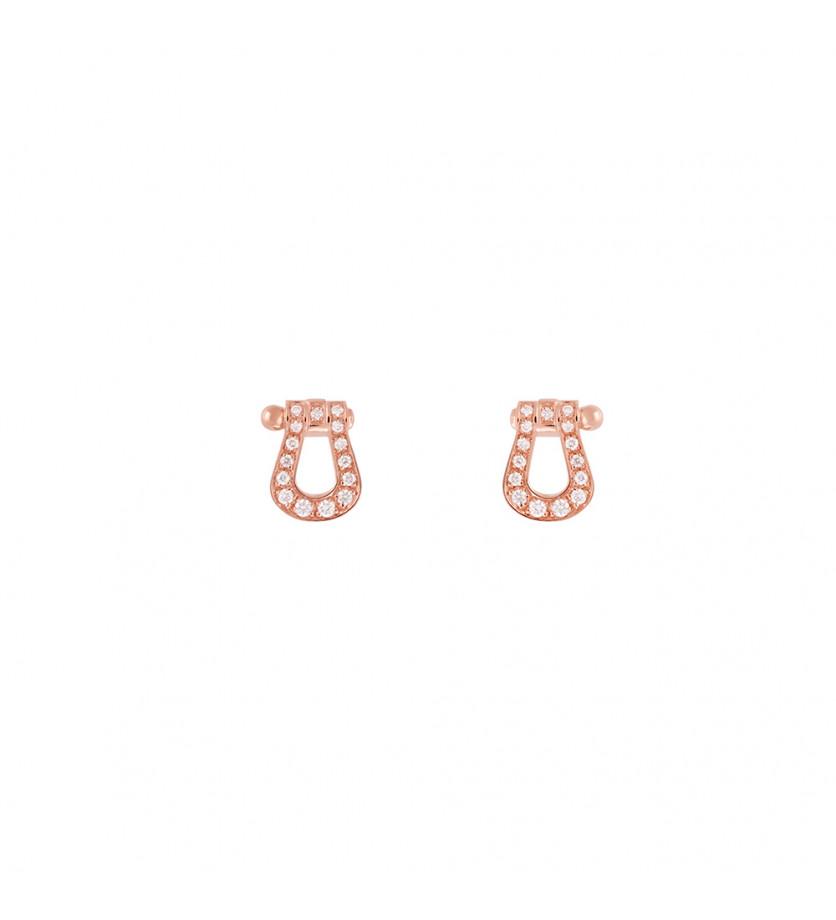 Boucles d'oreilles puces Force 10 PM or rose full pavé diamants
