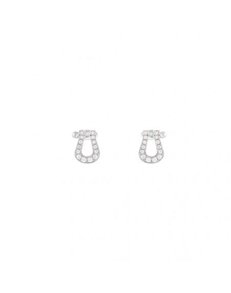 Boucles d'oreille puces Force 10 PM or gris full pavé diamants