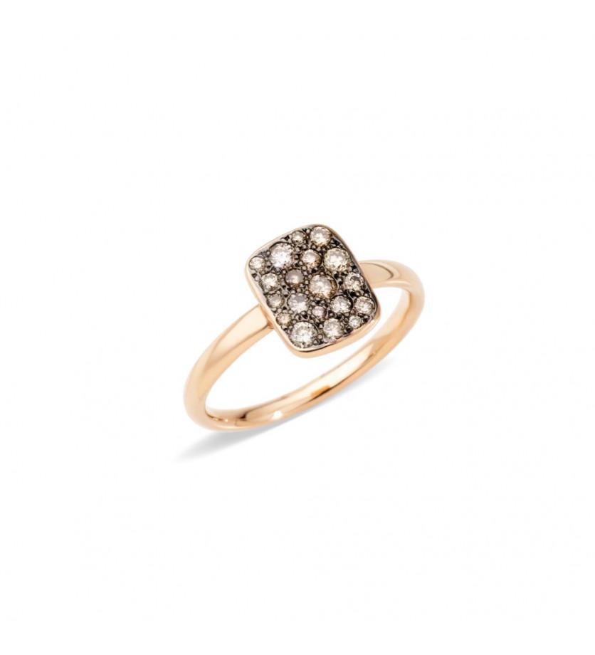 Bague Sabbia rectangle PM or rose diamants bruns