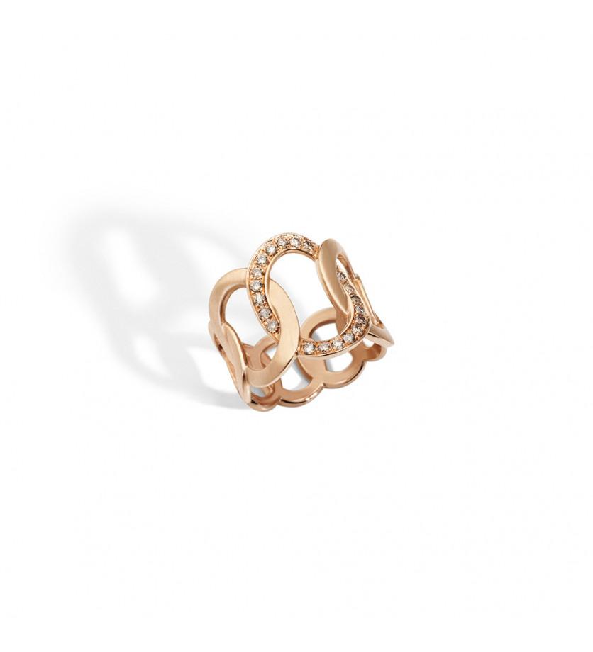 Bague Brera or rose diamants bruns