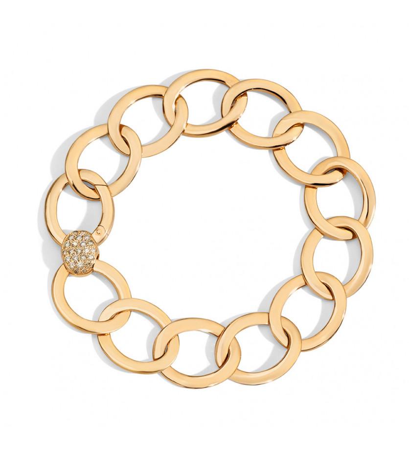 Bracelet Brera or rose diamants bruns taille M