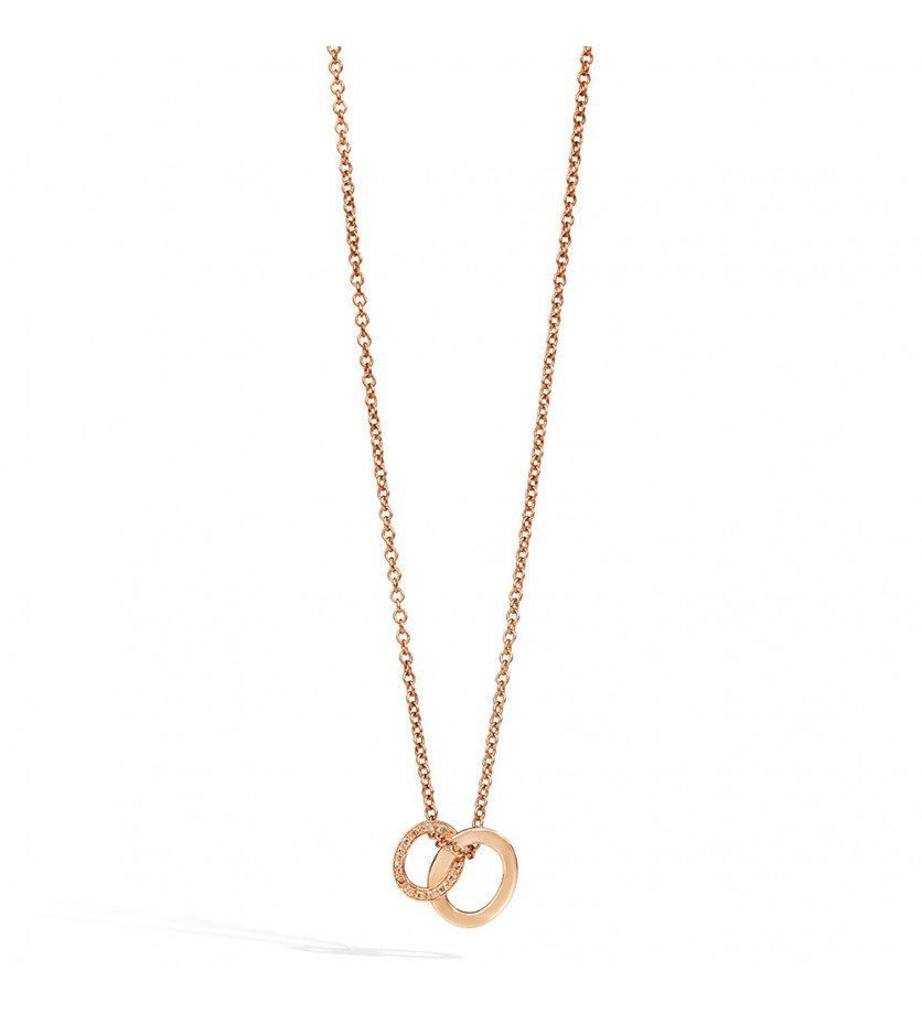 Collier Brera or rose 18 carats et diamants bruns