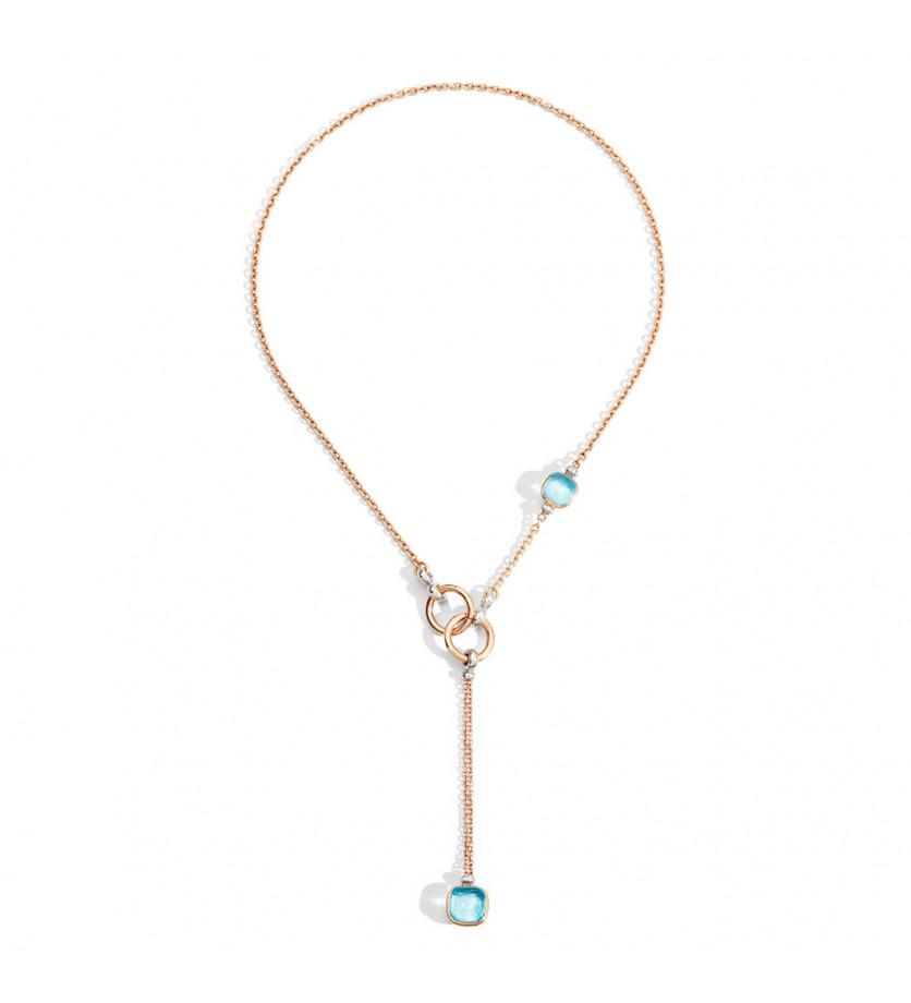 Collier Nudo avec pendentif or rose et or blanc topazes bleu ciel et diamants