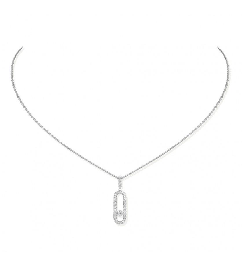 Collier Move Uno GM or gris diamants