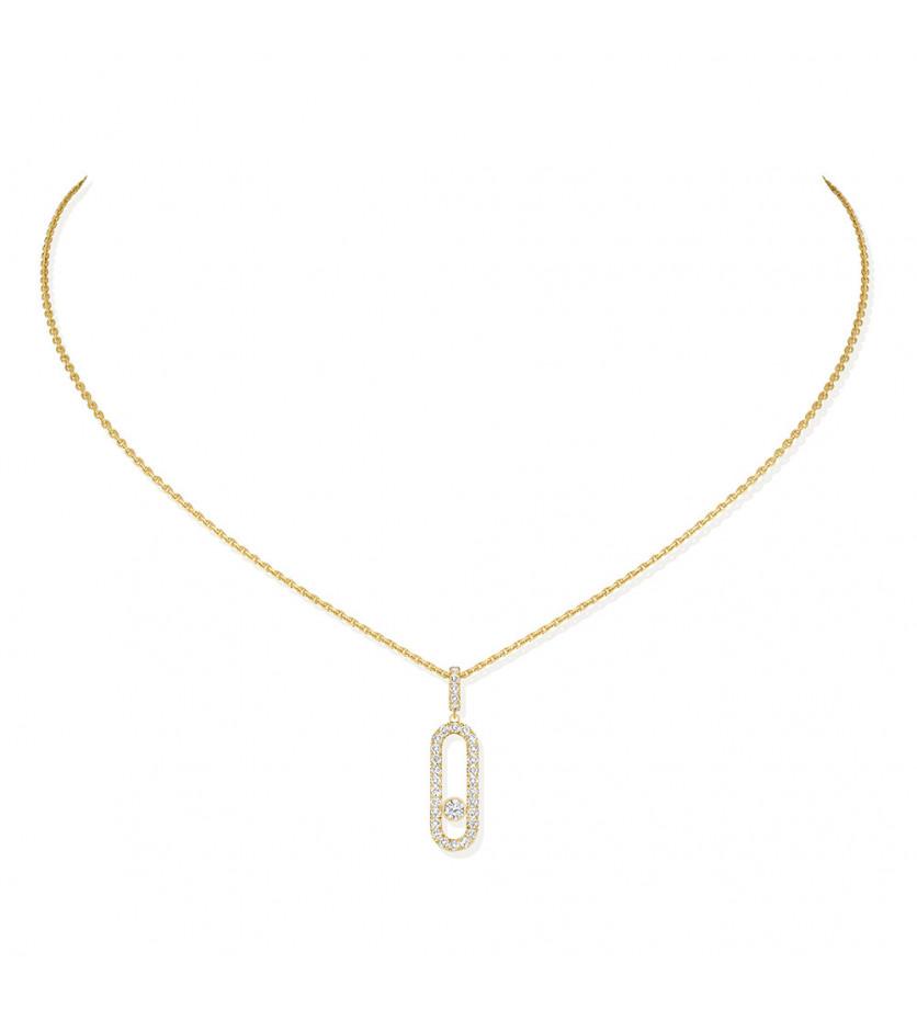 Collier Move Uno GM or jaune diamants
