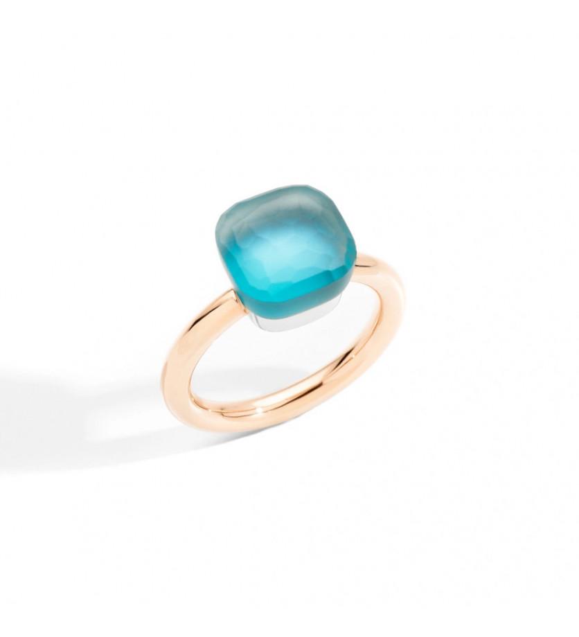 Bague Nudo Classique or rose or gris topaze bleu ciel gelè nacre turquoise