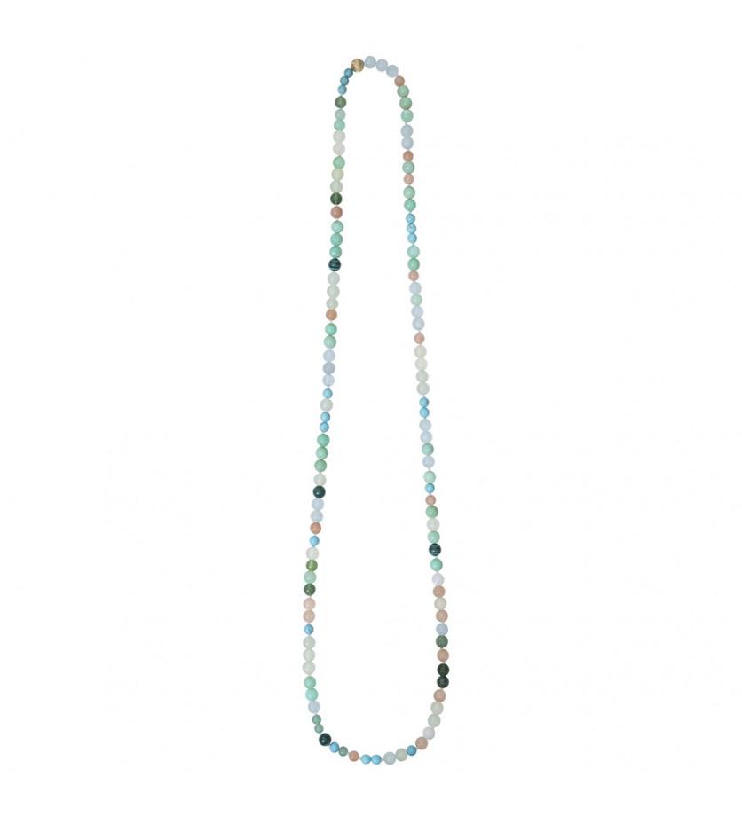 """Collier thème """"Turquoise"""" 80 cm sans fermoir composé de perles en turquoise, serpentine, malachite,"""