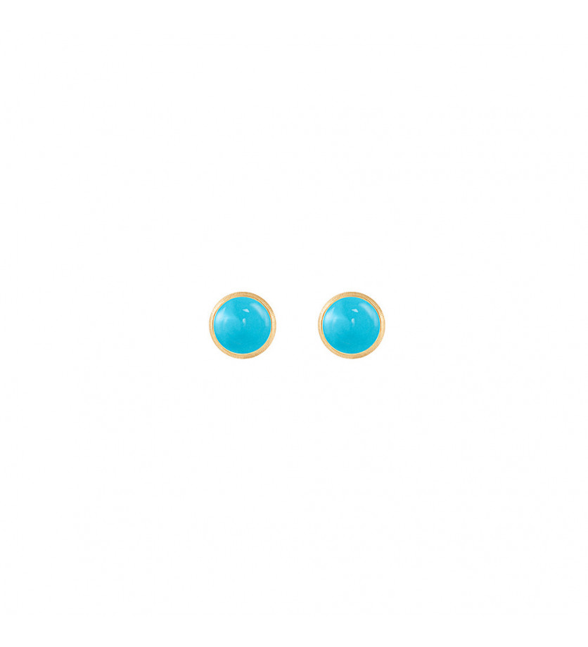 Paire de boucles d'oreilles puces Lotus or jaune et turquoise (diamètre 7mm)