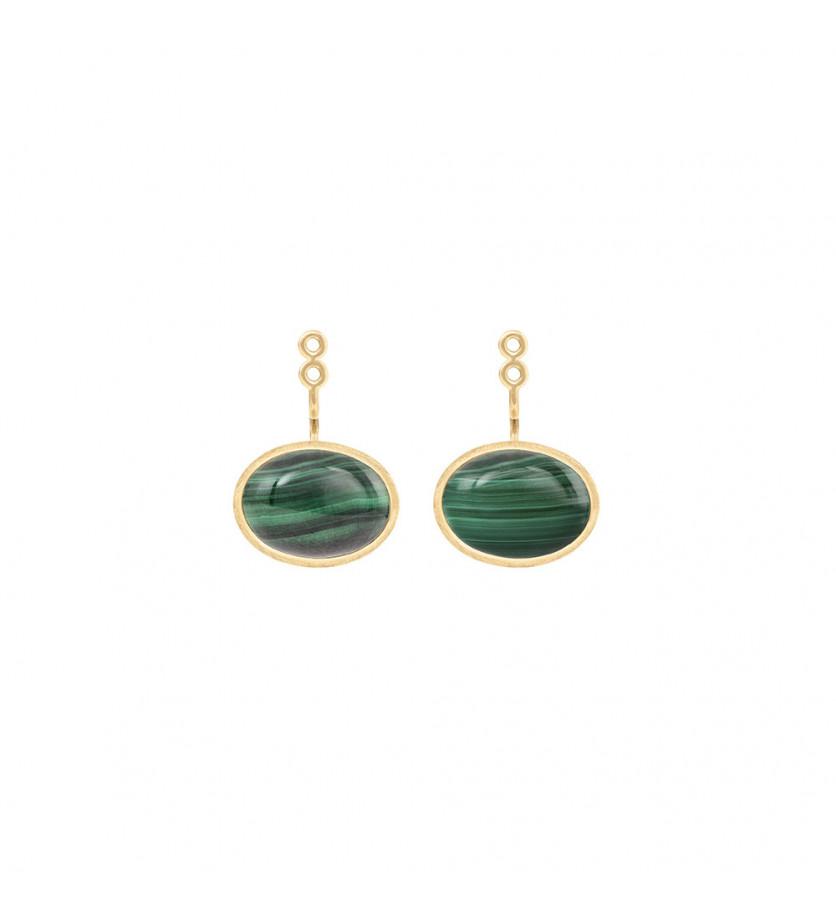 Paire de pendants d'oreille Lotus or jaune cabochons malachite (9*13mm)